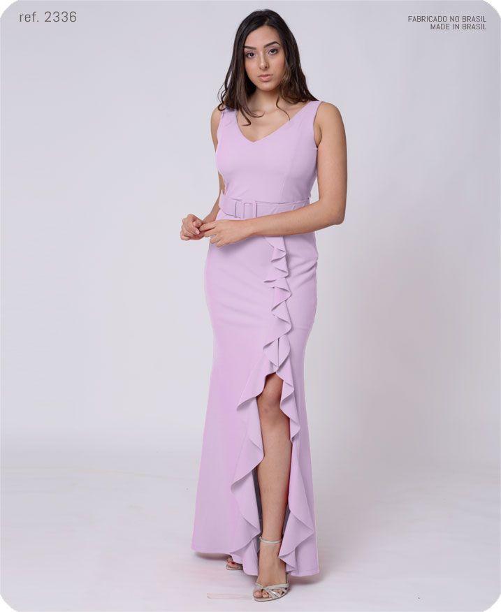 Vestido longo crepe de malha com fenda e cinto - Ref. 2336 s
