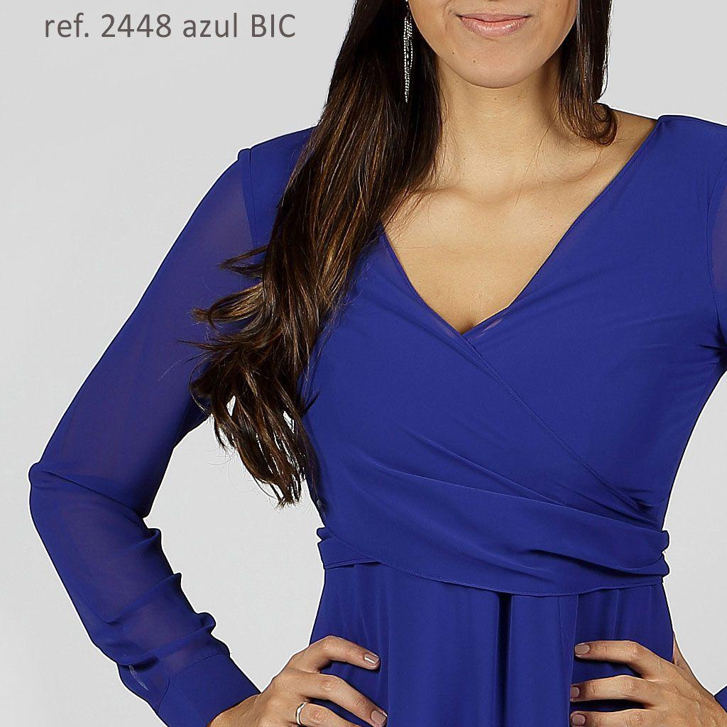 Vestido longo de chiffon Azul manga longa com transpasse - Ref. 2448