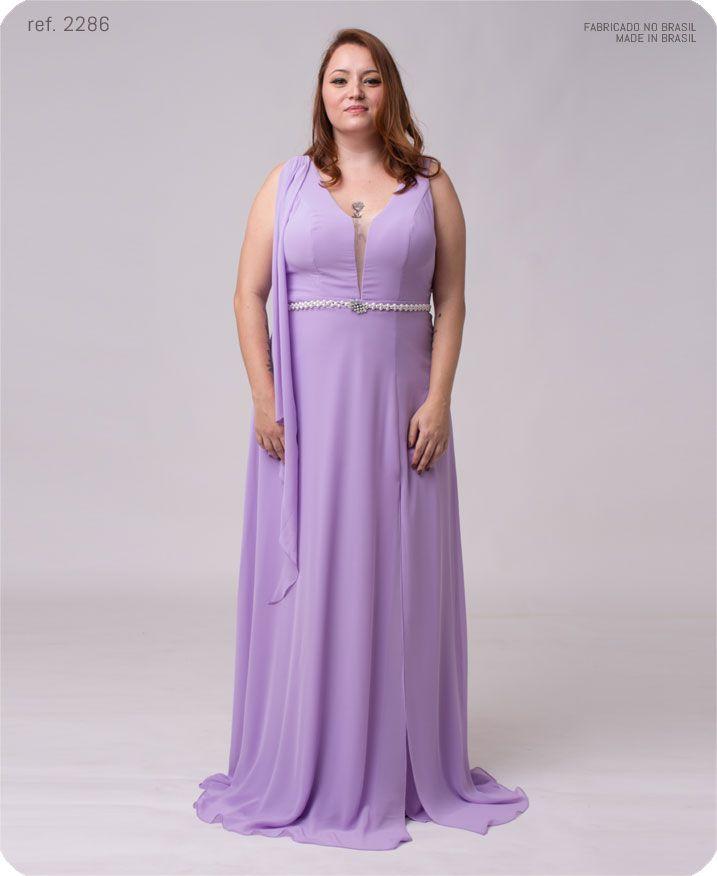 Vestido longo de chiffon com lenço e fenda - Ref. 2286s