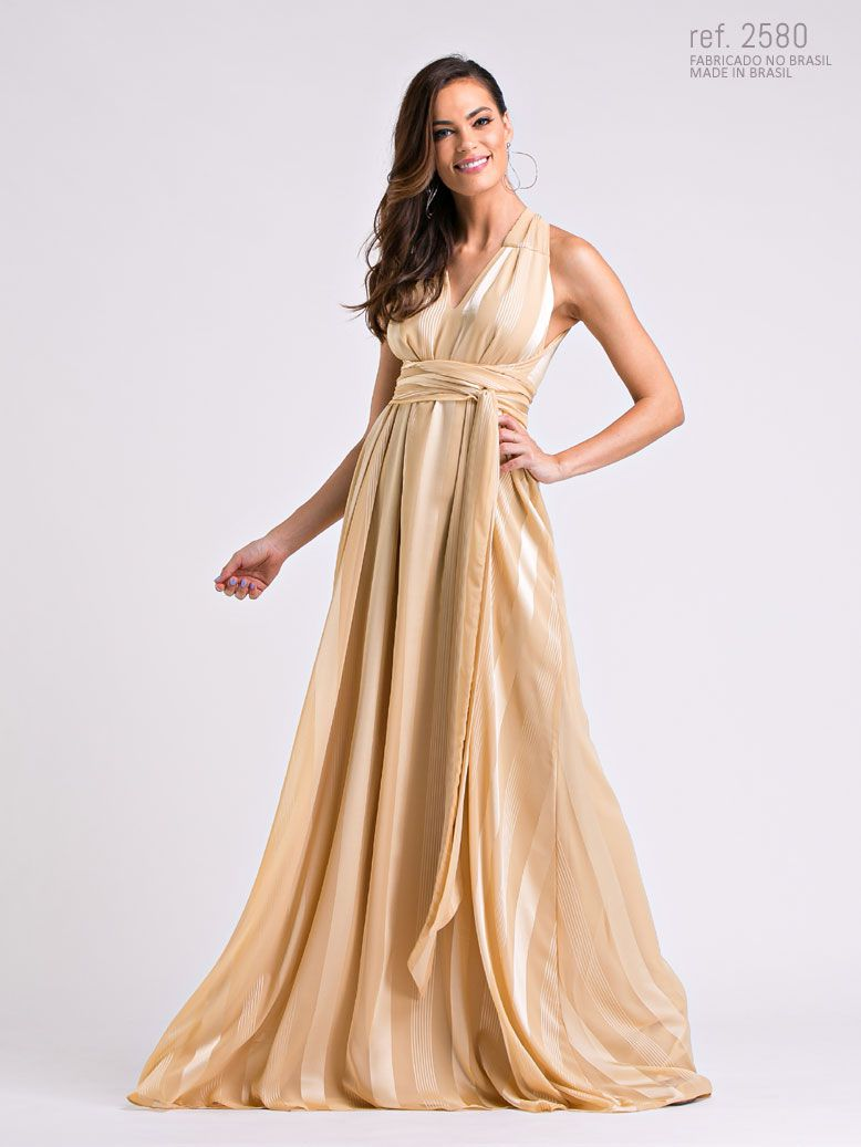 Vestido longo de chiffon Dourado - Ref. 2580