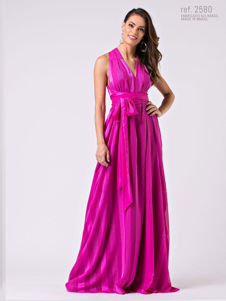 Vestido de festa longo Pink de amarração tamanho único - Ref. 2580