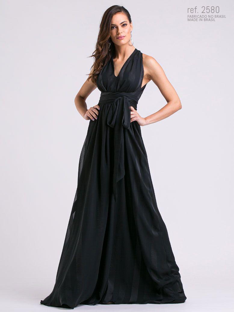 Vestido longo ELEA listrado Preto- Ref. 2580