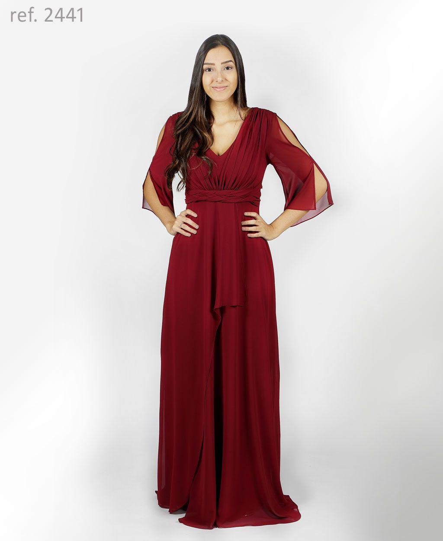 Vestido de festa longo de chiffon Marsala com faixa trançada e mangas - Ref. 2441