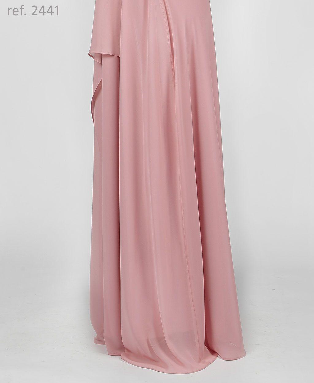 Vestido de festa longo de chiffon Rosê com faixa trançada e mangas - Ref. 2441
