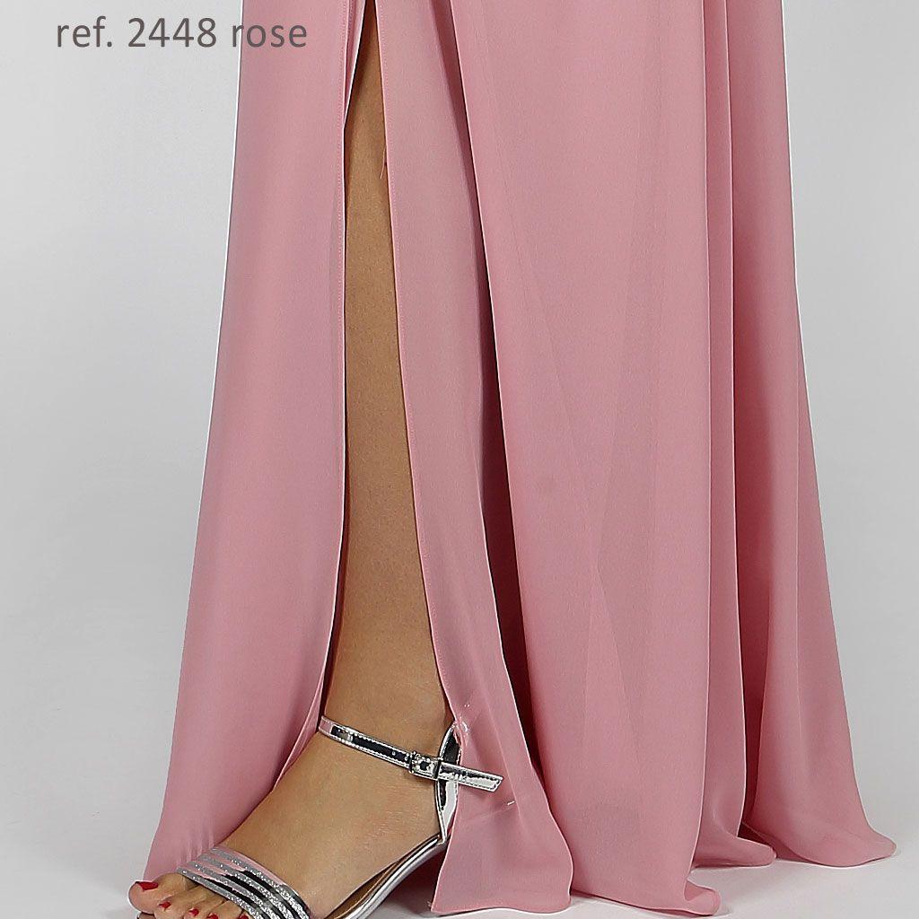 Vestido longo de chiffon Rose manga longa com transpasse - Ref. 2448