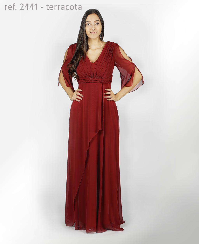 Vestido longo de chiffon Terracota com faixa trançada e mangas - Ref. 2441