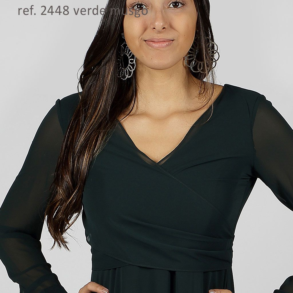 Vestido longo de chiffon Verde manga longa com transpasse - Ref. 2448