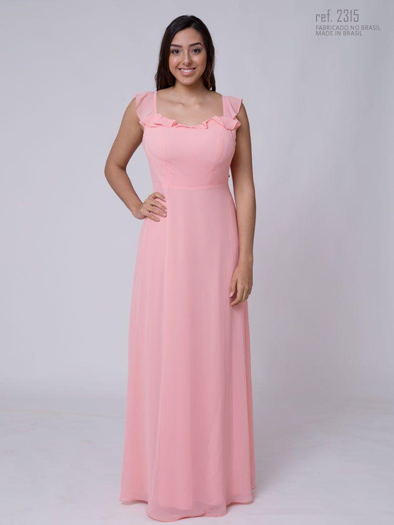 Vestido longo de crepe com alça de babados - Ref. 2315