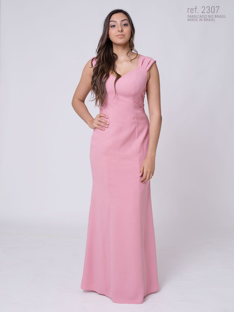Vestido longo de festa semi-sereia detalhe de guippir e renda na cintura - Ref. 2307