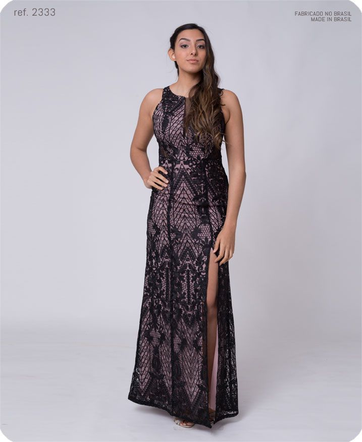 Vestido longo de renda com fenda com detalhe de tule - Ref. 2333