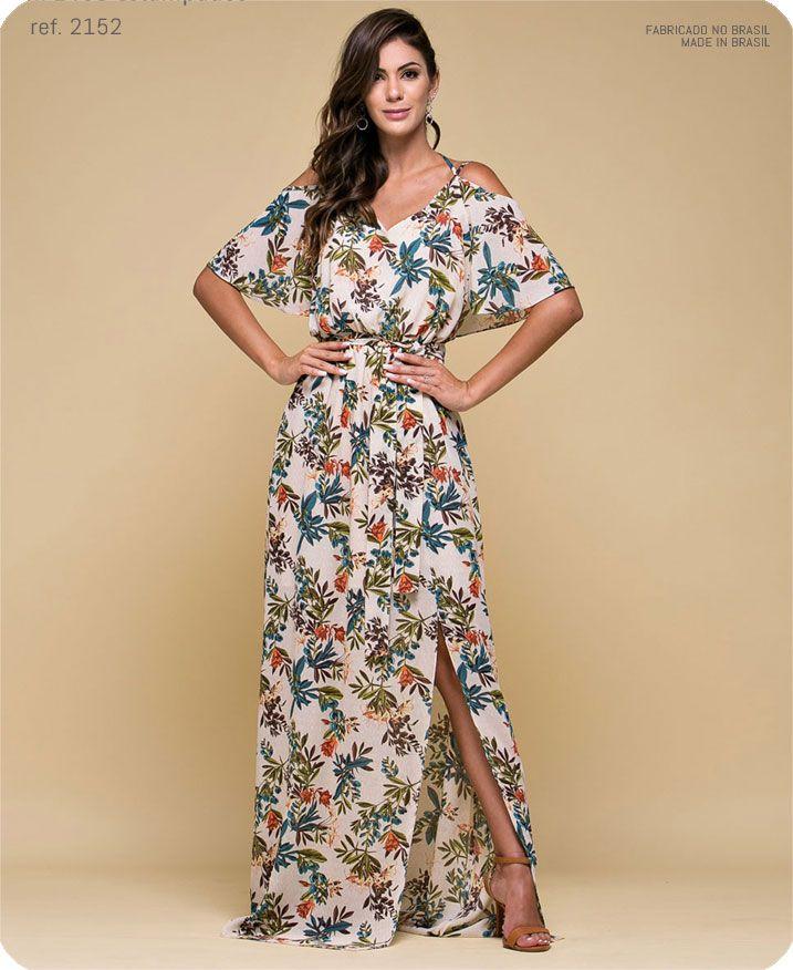 Vestido longo Estampado com alça e faixa Bege T40 - Ref. 2468