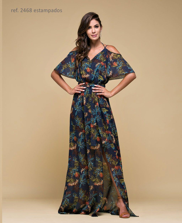 Vestido longo Estampado com alça e faixa Marinho - Ref. 2468