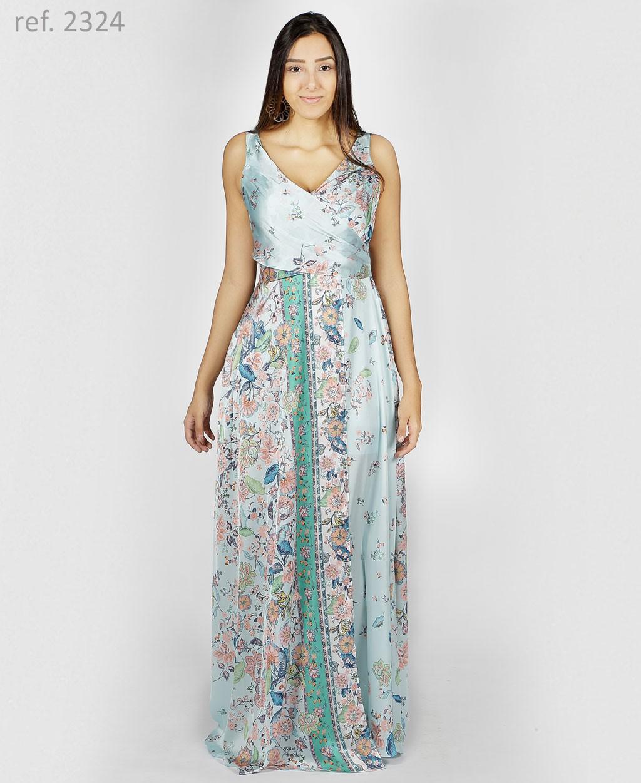 Vestido longo estampado com faixa tiffany T44 - Ref. 2324