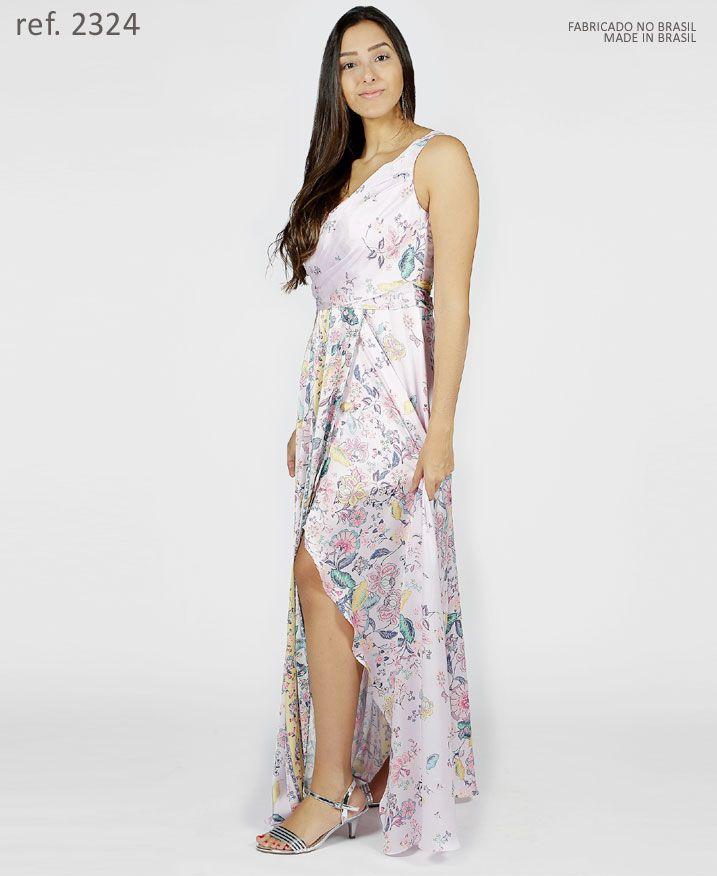 Vestido longo estampado com faixa transpassado - Ref. 2324