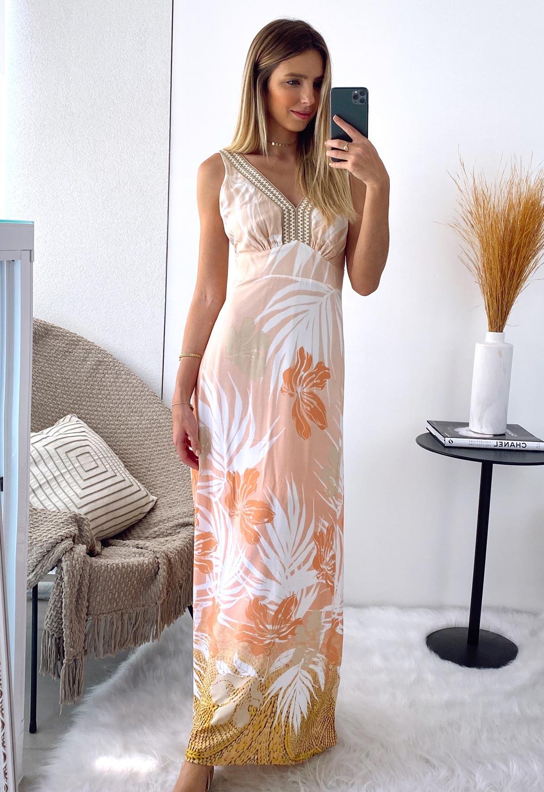 Vestido longo estampado coral ref. F11748