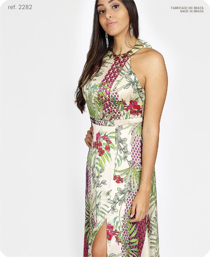 Vestido longo estampado de cetim frente única - ref 2282-2