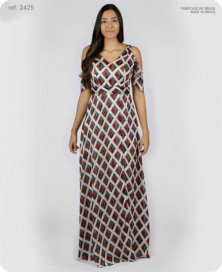Vestido longo estampado manguinha caída com alça - Ref. 2425