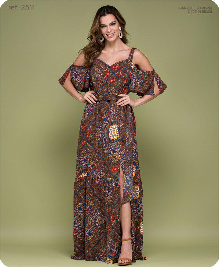 Vestido longo estampado Maxi Deco ref. 2511