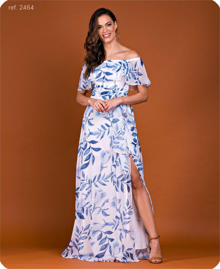 Vestido longo estampado ombro a ombro com fenda - Ref. 2464 folha Azul
