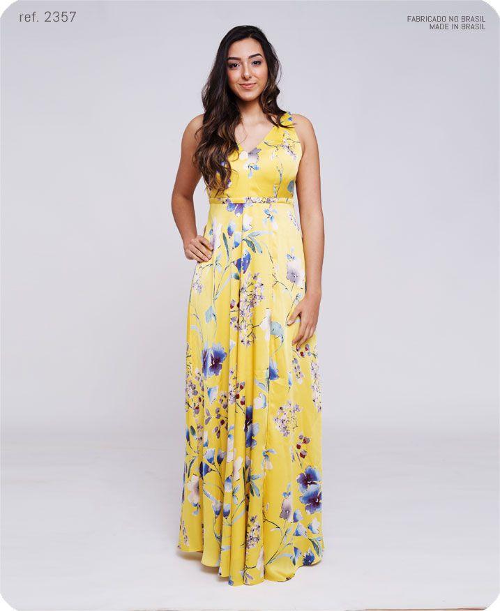 Vestido longo estampado de cetim com fenda  - ref 2357