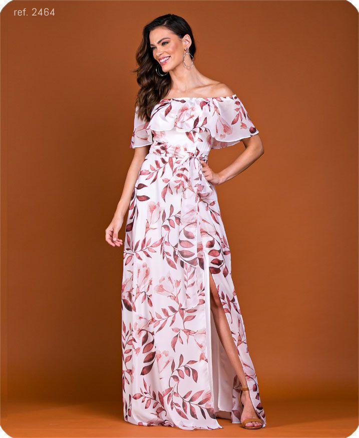 Vestido longo estampado Ref. 2464 folha vermelho