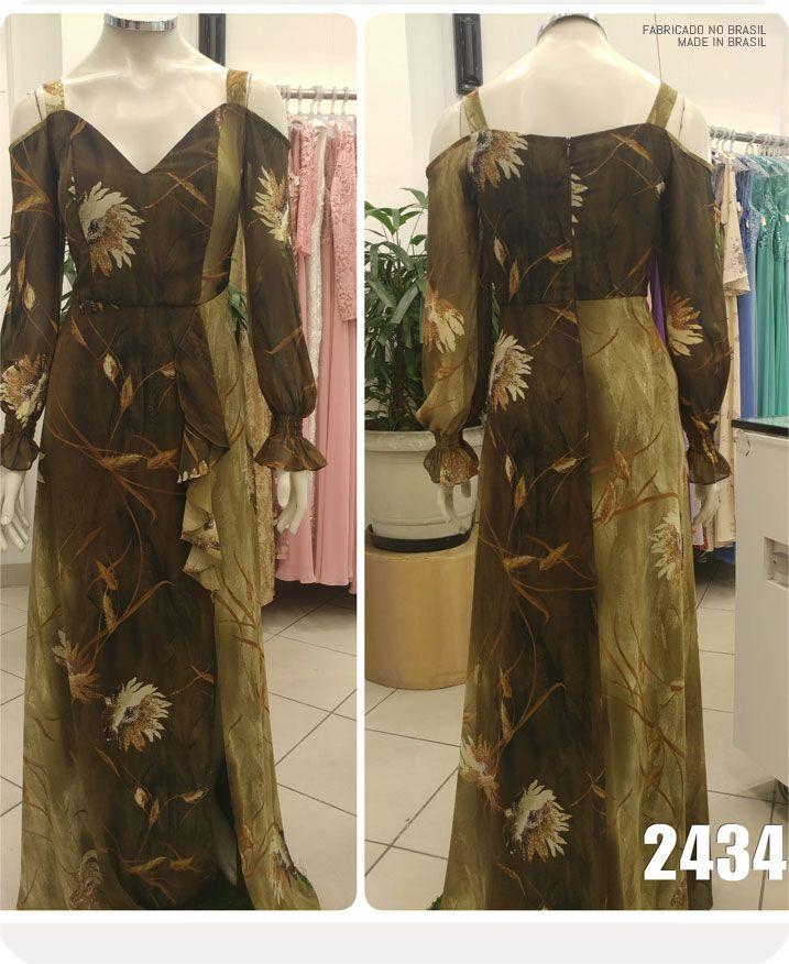 Vestido de festa longo estampado Verde Oliva com fenda e babados - Ref. 2434