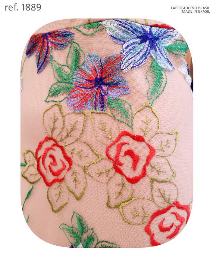 Vestido de festa longo floral colorido bordado nude - Ref. 1889