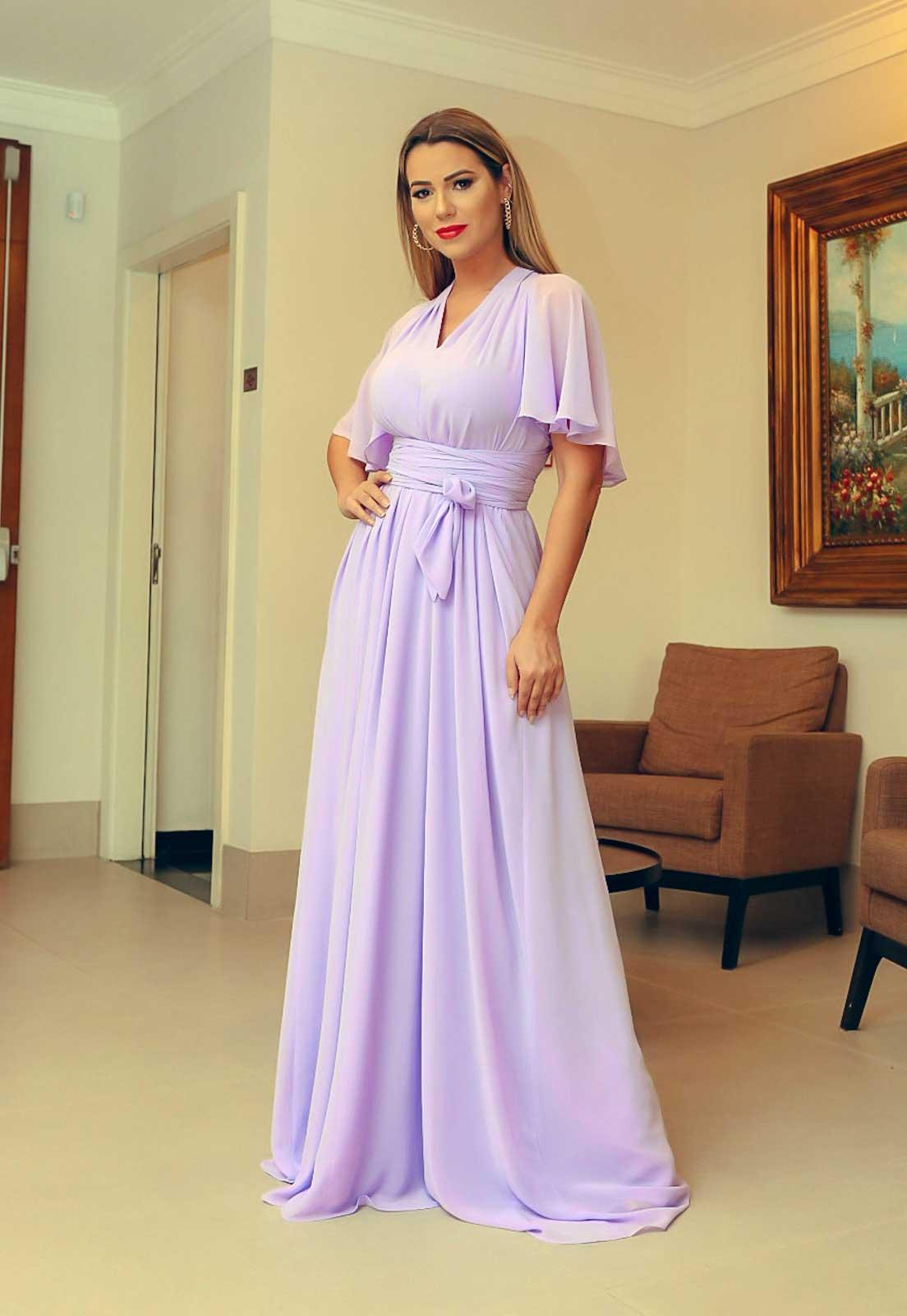 Vestido longo para madrinha Lilás ref.2593 tamanho único