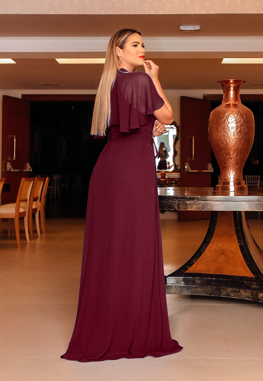 vestido longo para madrinhas na cor narsala