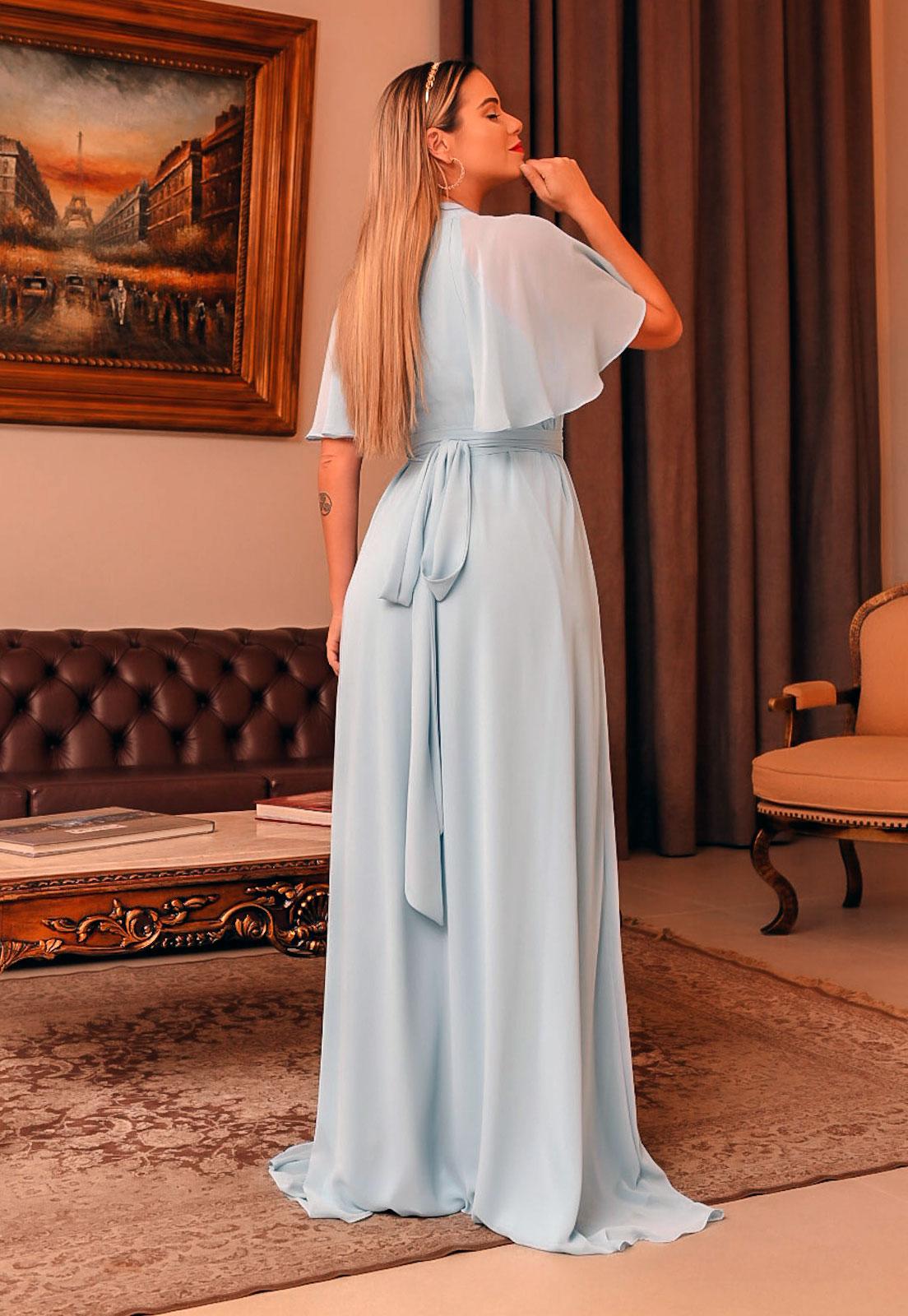 vestido longo para madrinhas na cor serenity