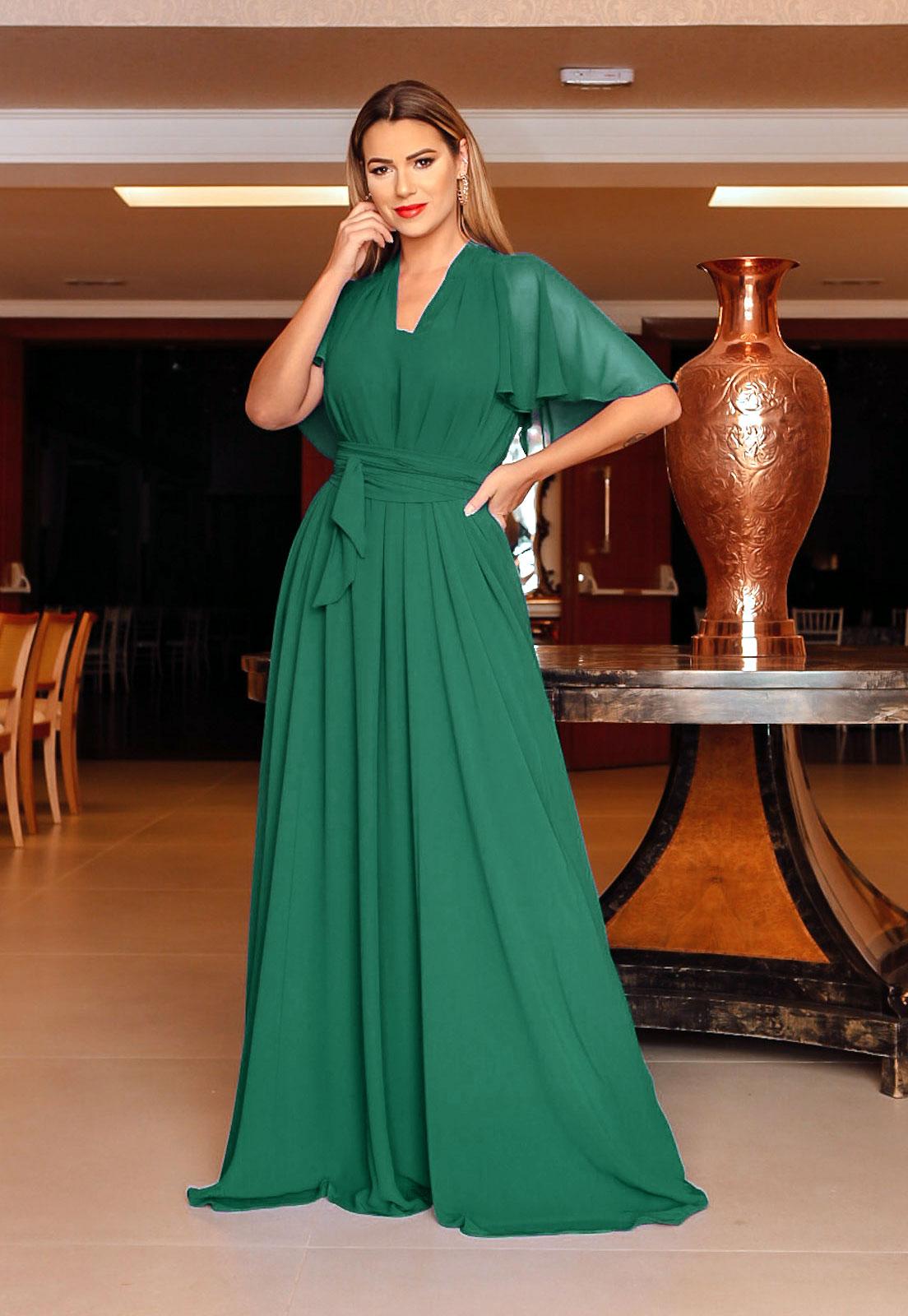 Vestido longo para madrinha Verde ref.2593 tamanho único