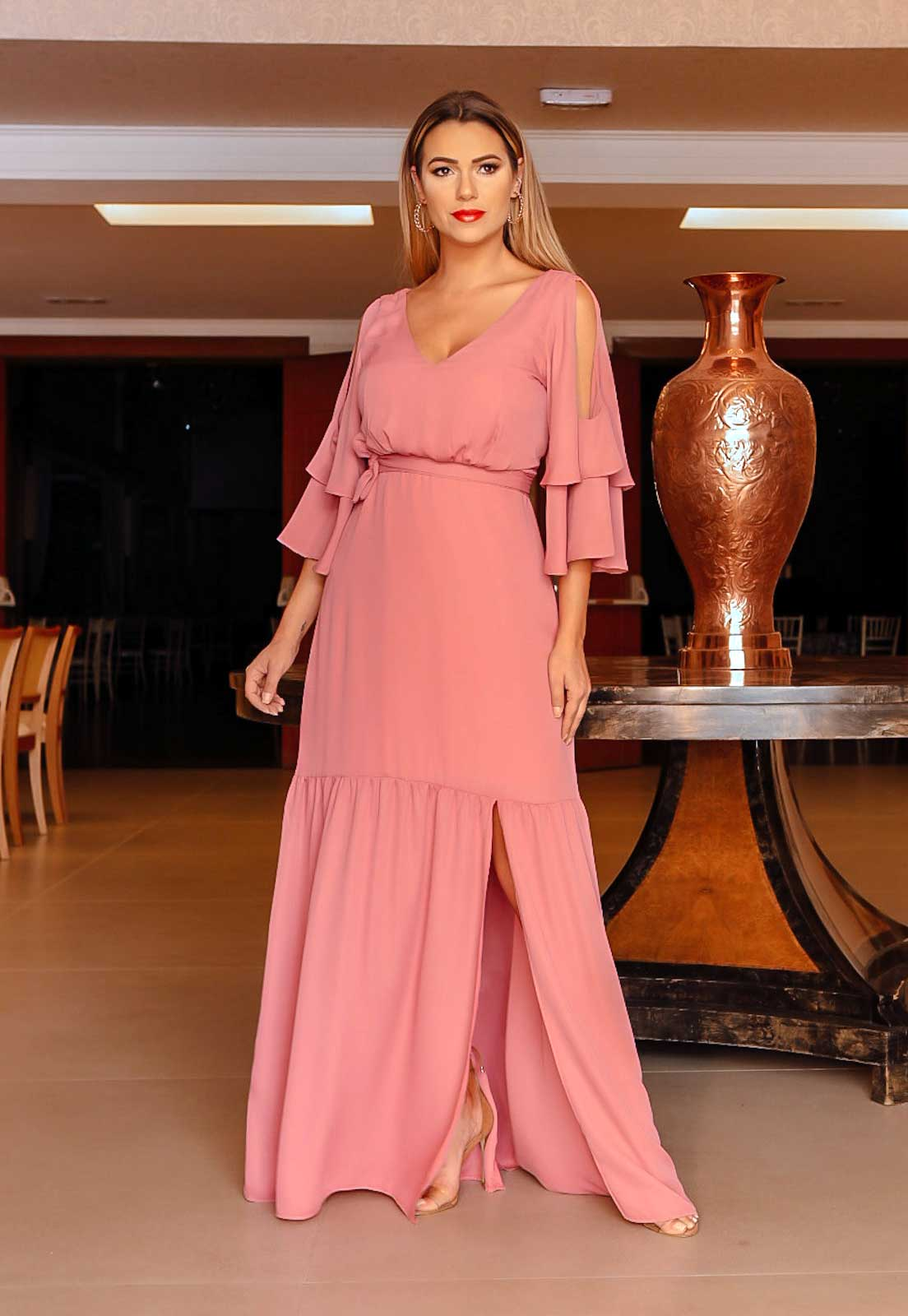 Vestido  longo rosa antigo ref. 2542