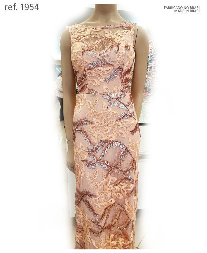 Vestido de festa longo todo bordado de Paetê premium - Ref. 1954