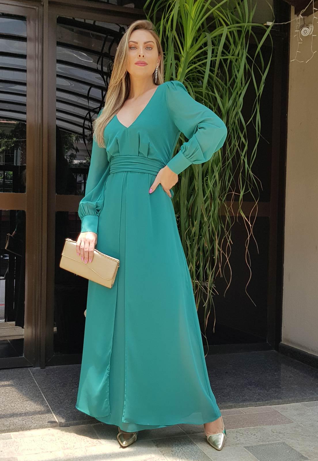 Vestido madrinha verde manga longa ref. 2581