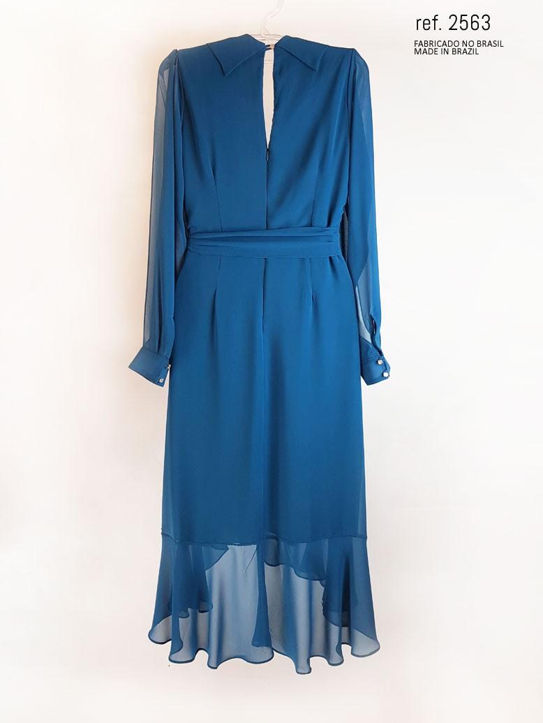 vestido mullet azul marinho costas