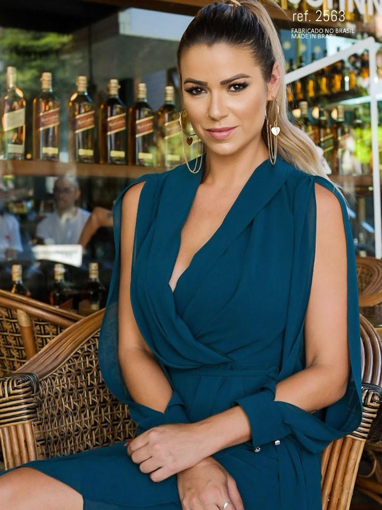 vestido de festa azul petroleo