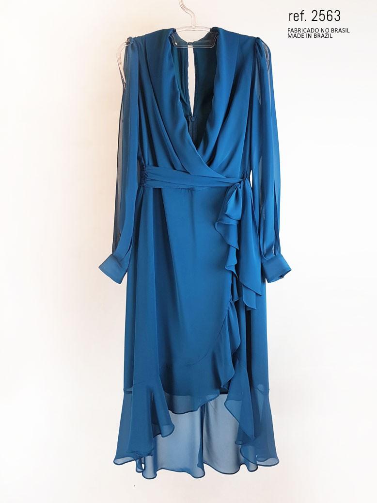 vestido mullet azul petroleo  frente