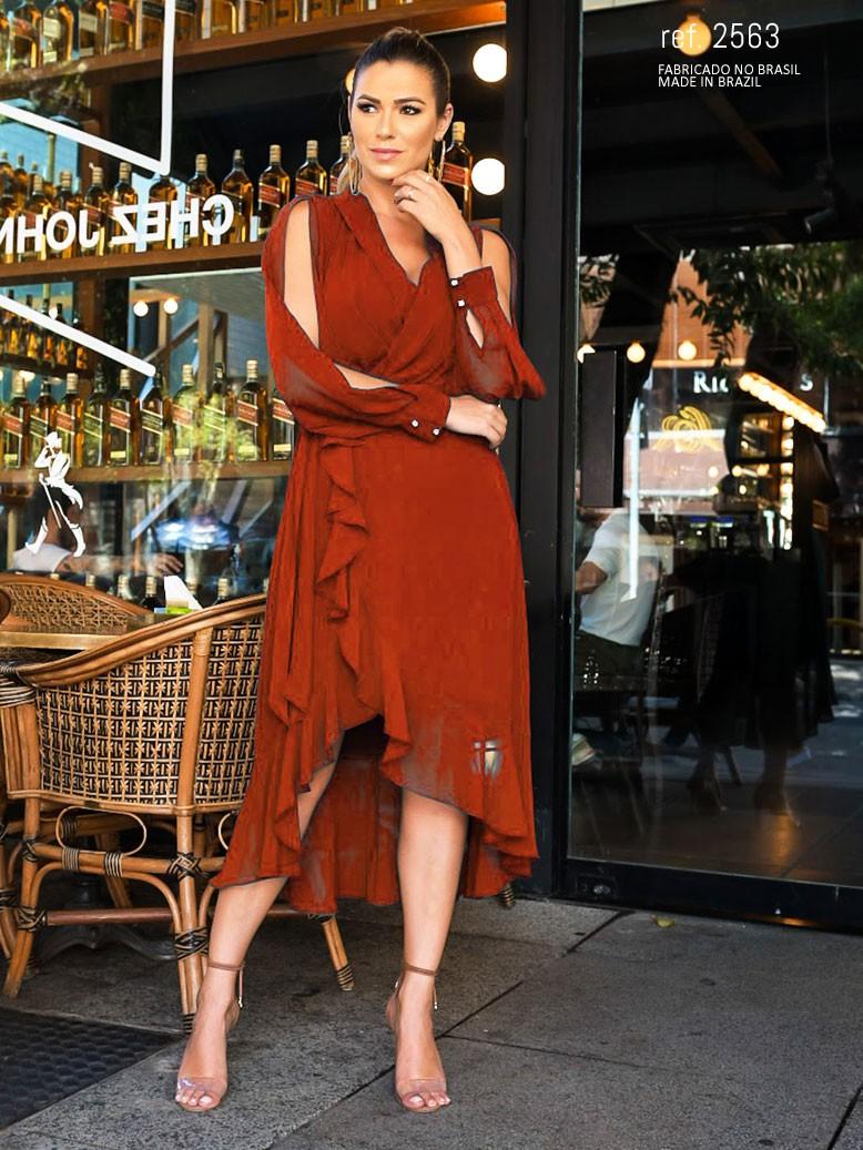 Vestido manga longa mullet terracota ref. 2563