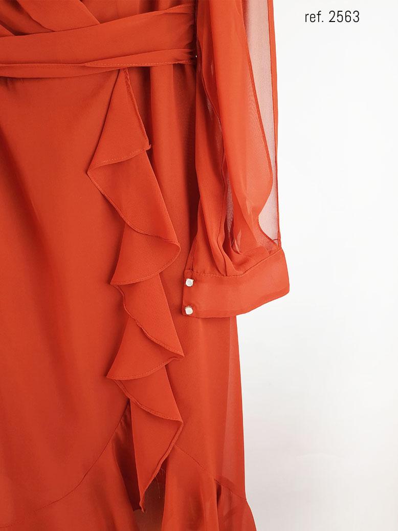 botões do punho do vestido terracota