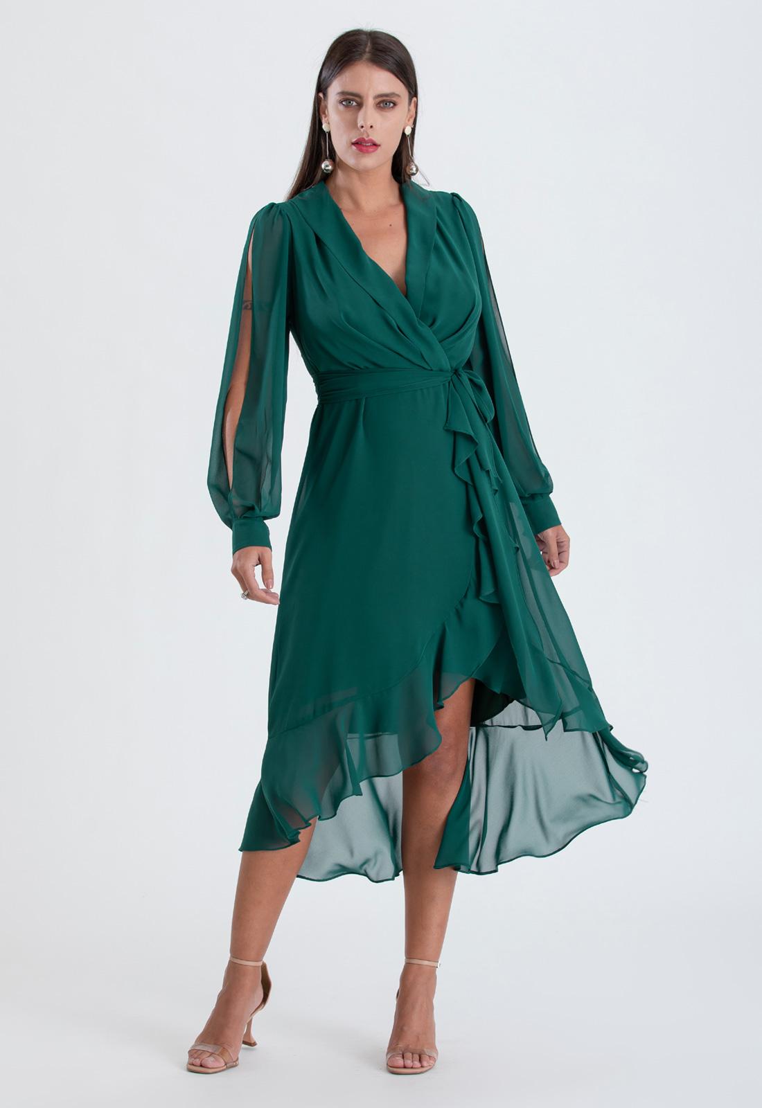 Vestido manga longa mullet verde ref. 2563