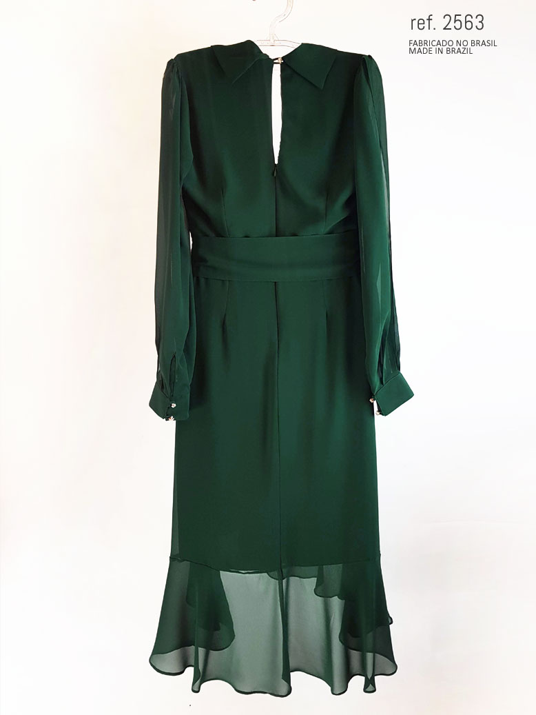 vestido mullet verde musgo costas