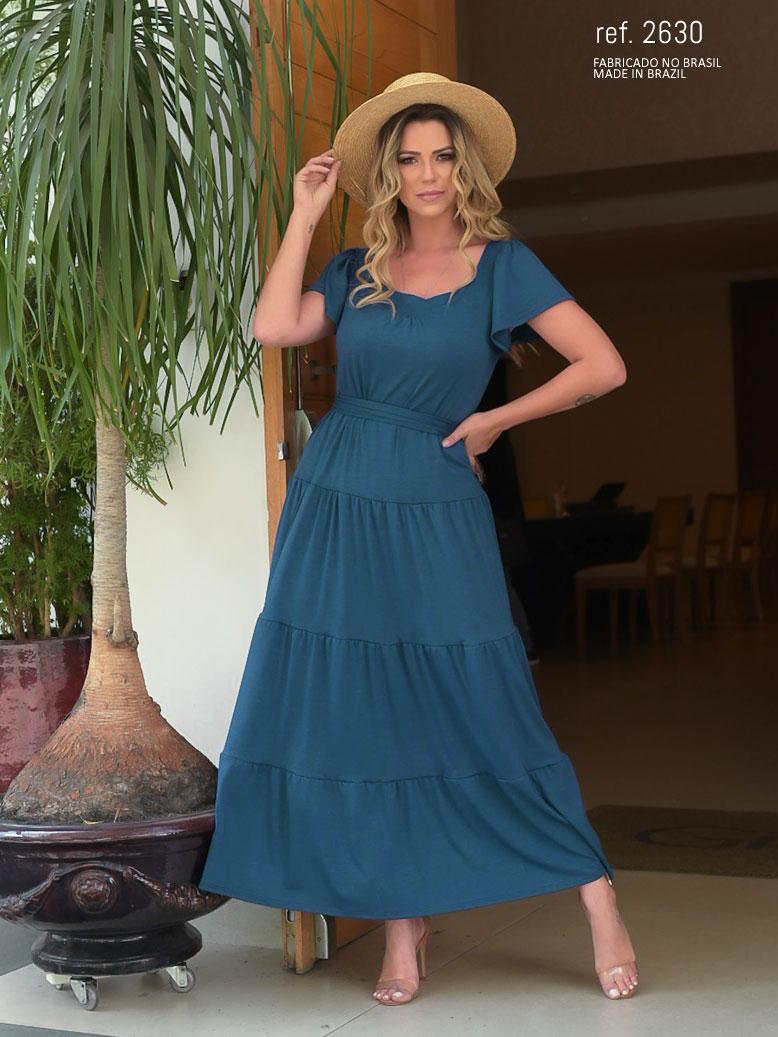 Vestido de malha azul petróleo  - Ref. 2630