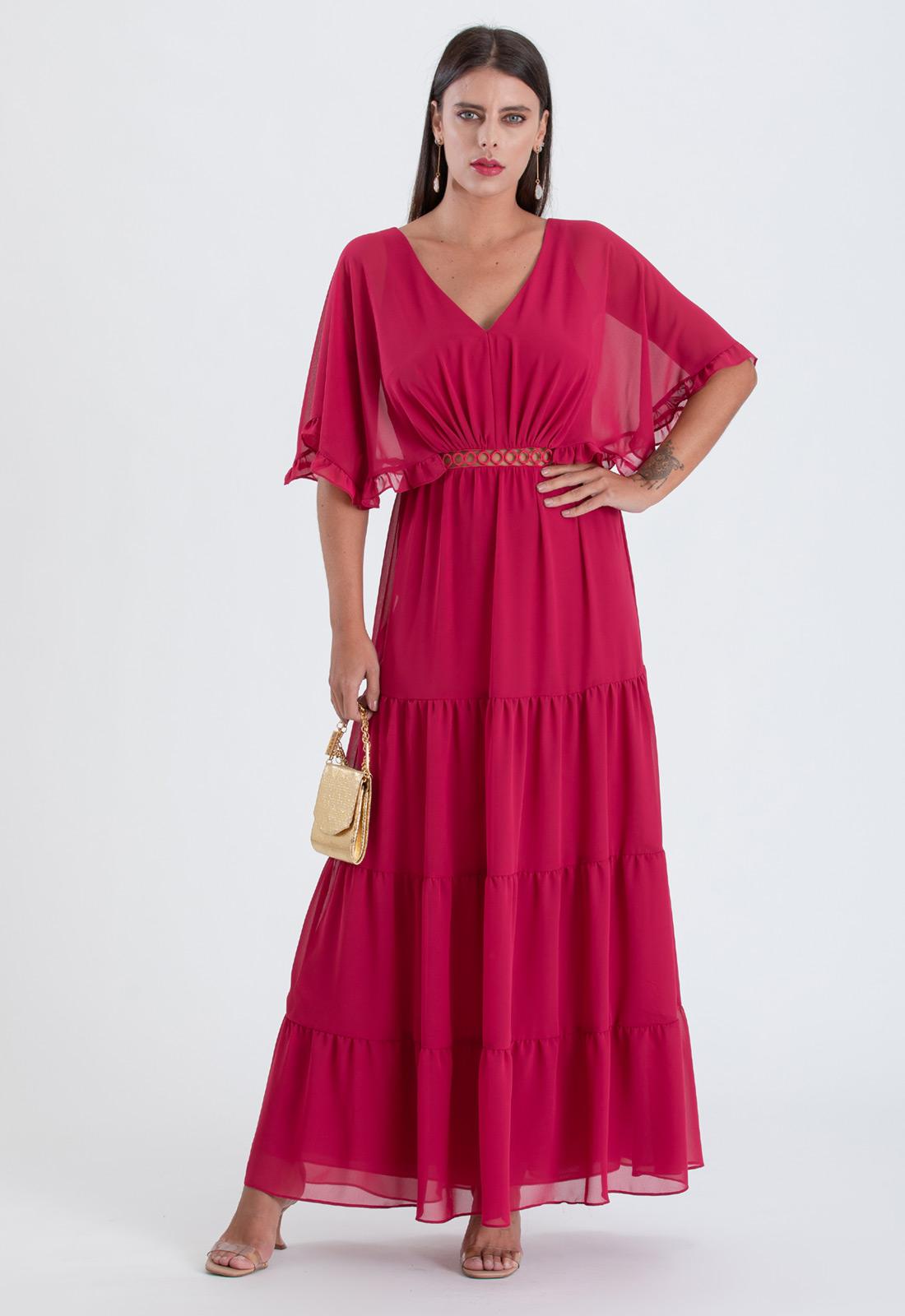 Vestido maxi magenta com detalhe guippir Ref. 2647