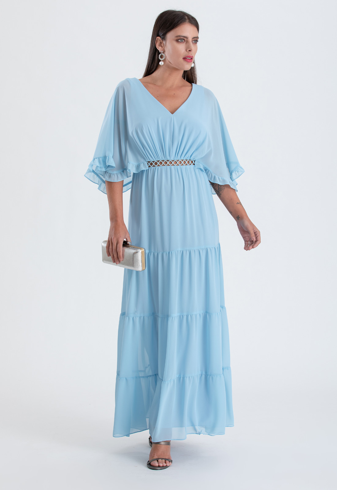 Vestido maxi serenity com detalhe guippir Ref. 2647