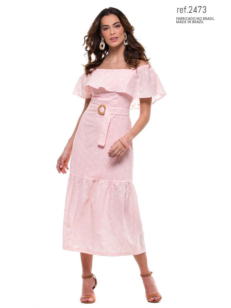 vestido voal rosa