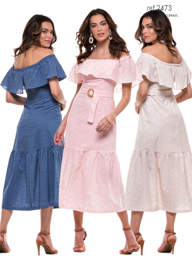 vestido midi voal em 3 cores