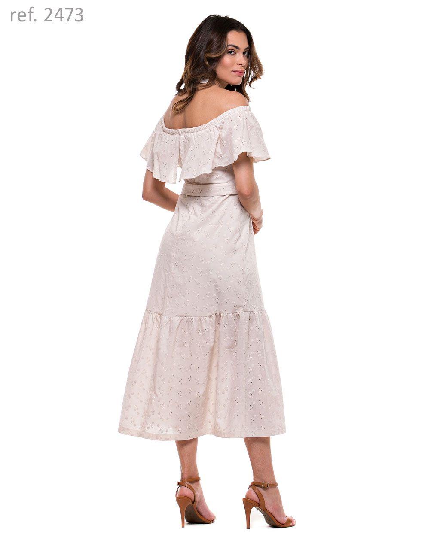Vestido Mdi de voal Laise Cigana com cinto e fivela - Ref. 2473