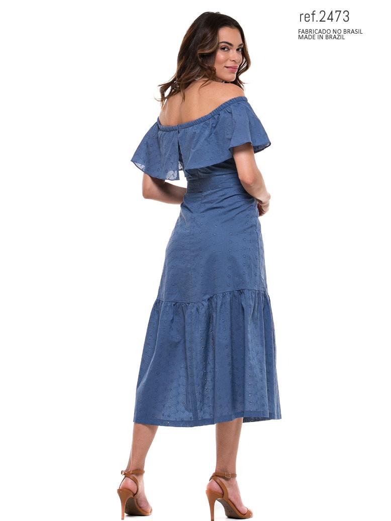 vestido midi azul jeans de algodão
