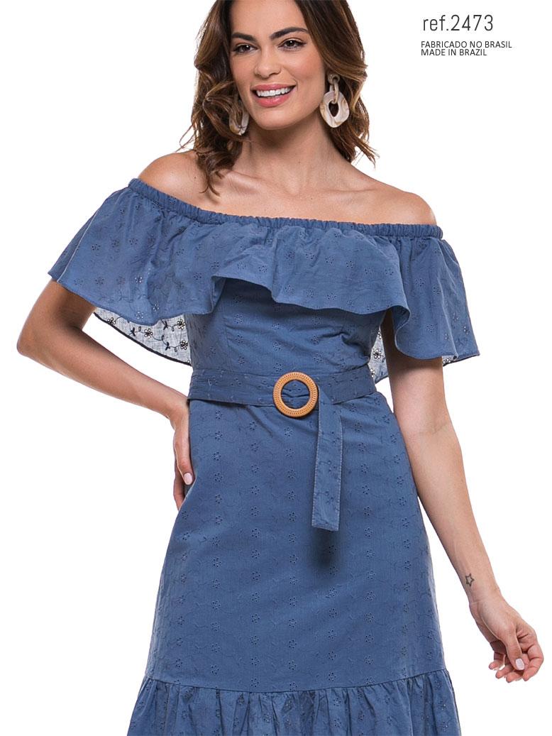 vestido voal azul midi