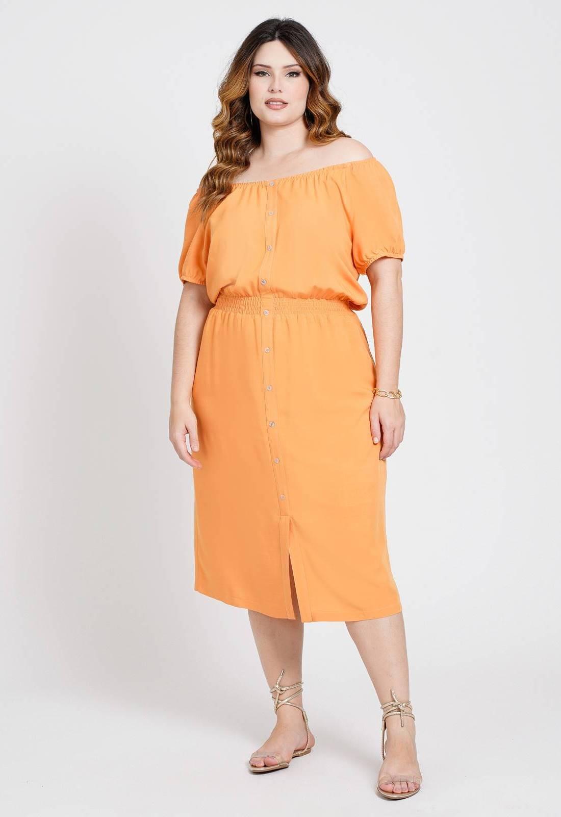 Vestido  midi com elastex Laranja  Ref. U79021